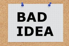 Bad Idea concept. 3D illustration of BAD IDEA on cork board Royalty Free Stock Photo