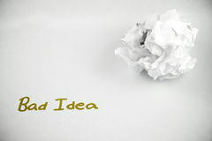Bad Idea - crumpled. A crumpled piece of paper saying Bad Idea Royalty Free Stock Images
