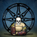 Bad Karma. Grungy illustration of buddha with a skull head in front of the wheel of life Royalty Free Stock Photos