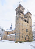 Bad Klosterlausnitz Romanic church under snow. Church in Bad Klosterlausnitz under fresh snow, decorated for Christmas; the church was built in 11th century in Royalty Free Stock Photo