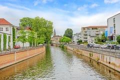 Bad Kreuznach, Germany. Inner city of Bad Kreuznach, river Nahe in front Stock Images