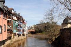 Bad Kreuznach and the Nahe river. Bad Kreuznach (Rhineland-Palatinate, Germany) and the Nahe river Stock Image