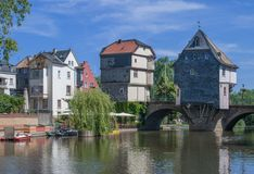 Bad Kreuznach, Rhineland-Palatinate, Germany. The famous Bridge Houses of Bad Kreuznach at Nahe River,Rhineland-Palatinate,Germany royalty free stock photos