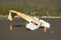 Bad landing. An aircraft wreck at an airfield at Weaverville in Northern California Royalty Free Stock Photo