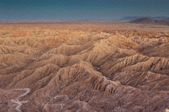 Bad-lands d'Anza-Borrego avant coucher du soleil Photographie stock