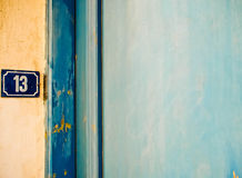 Bad luck. A door and a number. Bad luck Royalty Free Stock Image