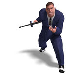Bad mafia gun man. 3D rendering of a bad mafia gun man with clipping path and shadow over white Stock Images
