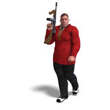 Bad mafia gun man. 3D rendering of a bad mafia gun man with clipping path and shadow over white Royalty Free Stock Photos