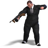 Bad mafia gun man. 3D rendering of a bad mafia gun man with clipping path and shadow over white Stock Photography