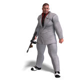 Bad mafia gun man. 3D rendering of a bad mafia gun man with clipping path and shadow over white Stock Photo