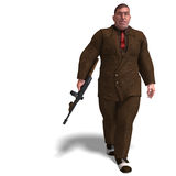 Bad mafia gun man. 3D rendering of a bad mafia gun man with clipping path and shadow over white Stock Image