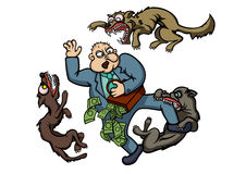 Bad man and angry dogs Stock Image