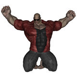 Bad man. 3D rendered bodybuilder mafia man on white background isolated Royalty Free Stock Images