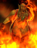 Bad Man in Fire. 3D rendering evil man in the fire Stock Image