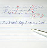 Bad mark. A bad mark, the dictation of the schoolboy with the dysortography - trouble with science Royalty Free Stock Photo