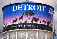 Bad Mayor; Good Zoo. Water tower at Detroit Zoo Entrance Stock Images