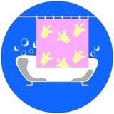 Bad med såpbubblor och illustrationen för duschgardin Arkivfoto