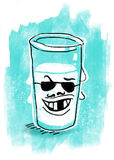 Bad milk illustration. Glass of spoilt milk on blue background Stock Illustration