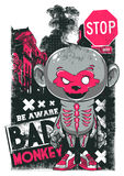 Bad Monkey. Vector illustration perfect for printing on apparel clothes Stock Photography
