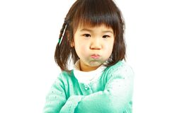 Bad mood Japanese little girl Royalty Free Stock Photography