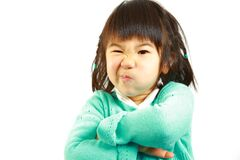 Bad mood Japanese little girl Royalty Free Stock Photos