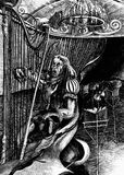 Bad musician. Bad Baroque musician, crying, tears the harp, hand drawn. Series DorwarD collection Dark dreams Stock Images