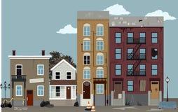 Bad neighborhood. City street at a dangerous poor neighborhood, EPS 8 vector illustration stock illustration