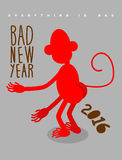 Bad new year. Everything is bad. Red monkey stands back. Christm Stock Image