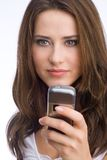 Bad news?. Young woman is reading a text message concentrated Stock Photos