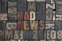 Bad News. The words Bad News written in very old letterpress type Royalty Free Stock Image