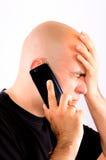 Bad news. Bald guy recive bad news Stock Photos