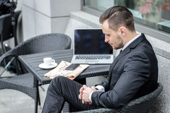 Bad news, bad luck, the deal fell through. Businessman sitting a Royalty Free Stock Images