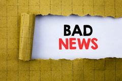 Bad News. Business concept for Failure Media Newspaper written on white paper on the yellow folded paper. Bad News. Business concept for Failure Media Newspaper Royalty Free Stock Photography