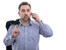 Bad news cellphone communication Stock Image