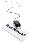 Bad News and computer mouse Royalty Free Stock Photos