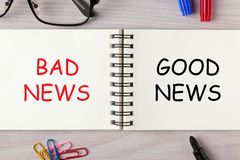Bad News Good News. BAD NEWS and GOOD NEWS written on open spiral notebook and various stationery. Business concept stock photography