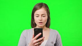 Bad News on Her Phone stock footage