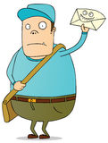 Bad news messenger. A fat postman bringing a bad envelope Stock Photos