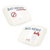 Bad news daily newspaper illustrations Royalty Free Stock Photos