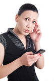 Bad news on phone Stock Image