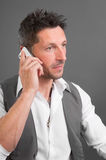 Bad news by phone. Not good news - phoning. Man having a bad news by phone Stock Photos