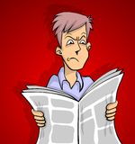 Bad news red. Man is reading a bad news in newspaper red background Stock Image