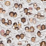 Bad news!. Seamless pattern with diverse people, adults and children, reading newspapers, with shocked, fearful and sad facial expressions Stock Photo