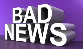 Bad news text concept. BAD NEWS in white 3D lettering, on a shiny purple reflective surface and a lighter purple background Stock Images