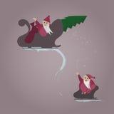 Bad and Nice Santa. Bad Santa in the pursuit of a good Santa, but good always wins Stock Photos