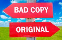 Bad oryginał lub kopia Obraz Stock