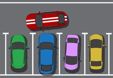 Bad parking. Blocking cars. Cars top view. Vector illustration Stock Image