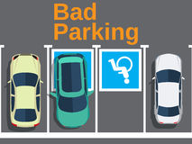 Bad parking. car parked for disabled Stock Image