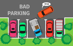 Bad Parking. Car Parked in Inappropriate Way. Stock Image