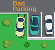 Bad parking. car parked on the lawn. Royalty Free Stock Photography